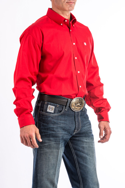 Cinch Men's Solid Red Western Shirt MT1103313