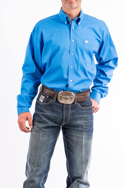 Cinch Men's Solid Blue Western Shirt MTW1103799