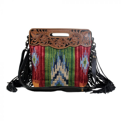 Myra Southwest Aztec Fringe Bag with Hand Tooled Leather