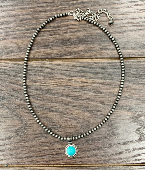 Mini Navajo Pearl Necklace with Natural Turquoise Pendant