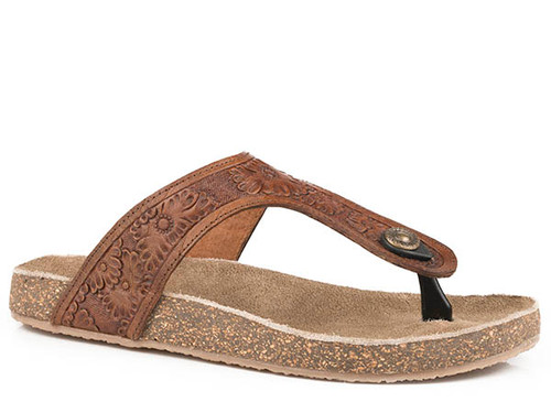 Roper Women's Miranda Tooled Leather Sandal