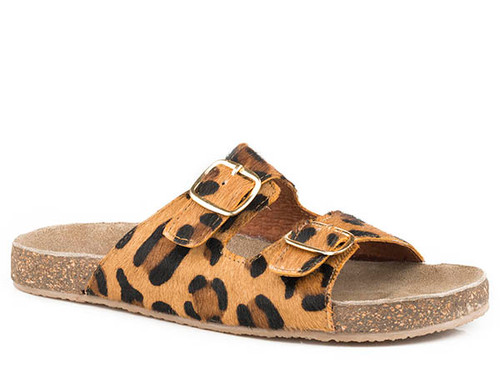 Roper Women's Desiree Leopard Hair On Two Buckle Sandal