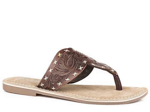 Roper Women's Juliet Tooled Leather Flat Sandal