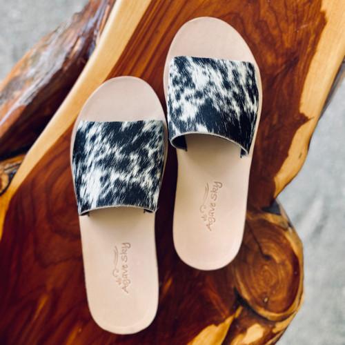 Agave Sky Cowhide Leather Slides