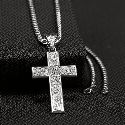 Silver Western Scroll Cross Necklace