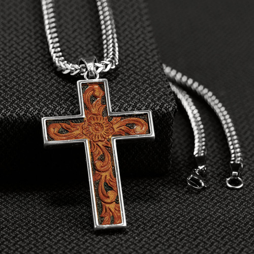 Leather Inlay Cross Necklace