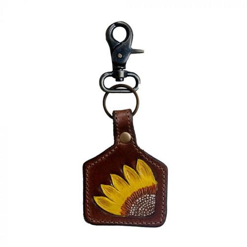 Myra Leather Sunflower Key Fob