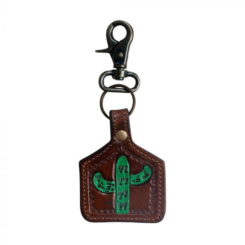 Leather Hand Painted Cactus Key Fob