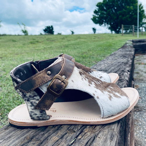 Size 5 Amber Cowhide Sandal by Agave Sky