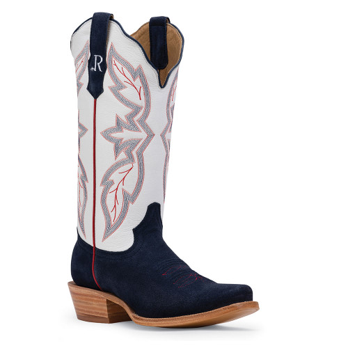 R. Watson Midnight Blue Roughout Western Boot