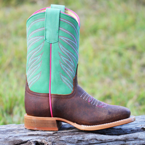 Anderson Bean Girls Square Toe Boot, Minty Fresh
