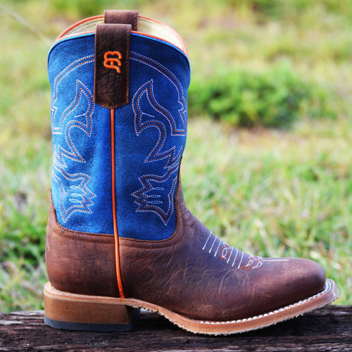 Anderson Bean Boys Square Toe Boot, Blue Mad Dog