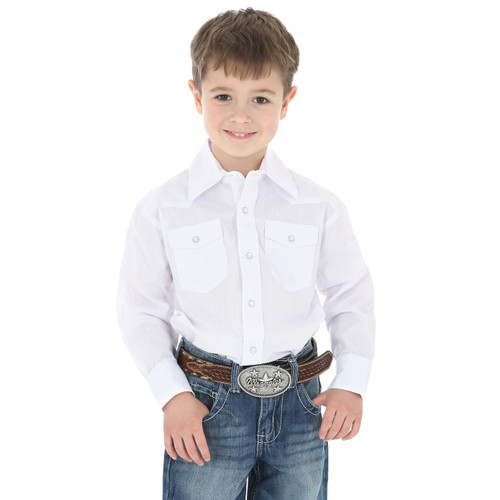 Wrangler Boys White Western Snap Shirt