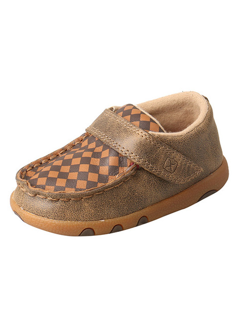 Twisted X Infant Driving Mocs Patchwork, Bomber / Tan