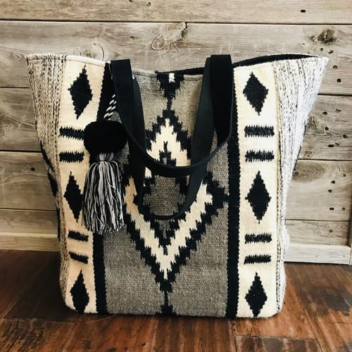 Malibu Black and White Large Saddle Blanket Tote