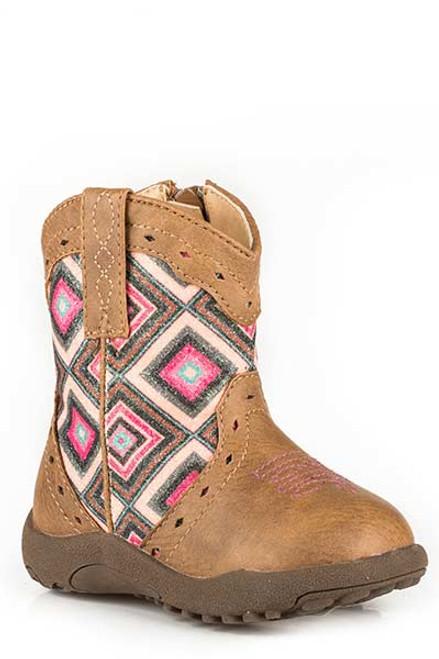 Roper Infant Glitter Cowbabies Zipper Boot, Brown/Pink