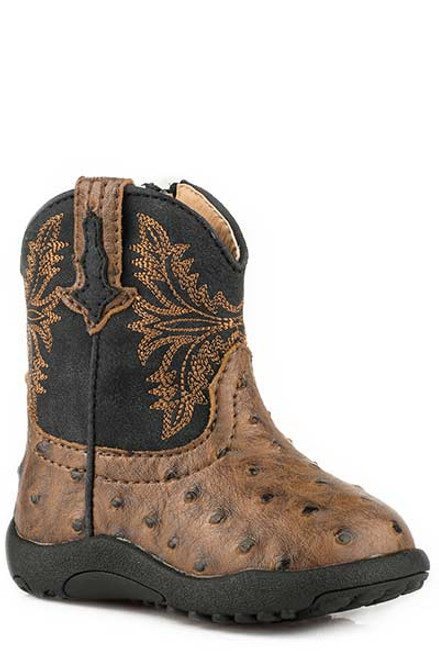 Roper Infant Faux Ostrich Cowbabies Boot, Brown/Black