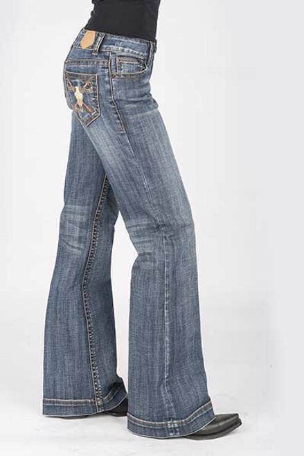 Tin Haul Gal's Ella Trouser Fit Jean, Bar Embroidered