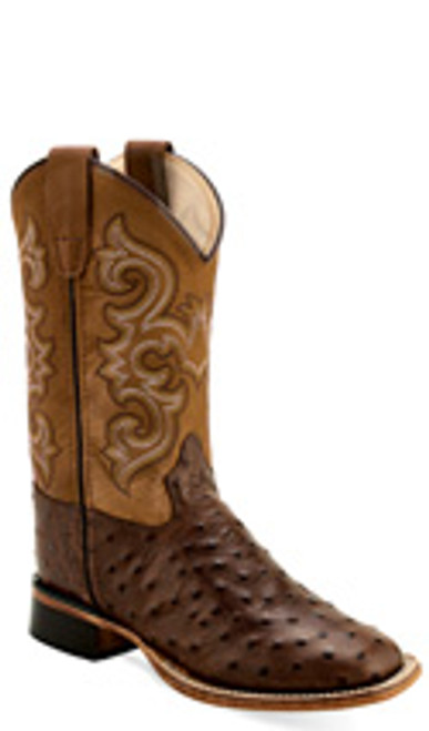 Old West Kids Chocolate Faux Ostrich Print Square Toe Boot