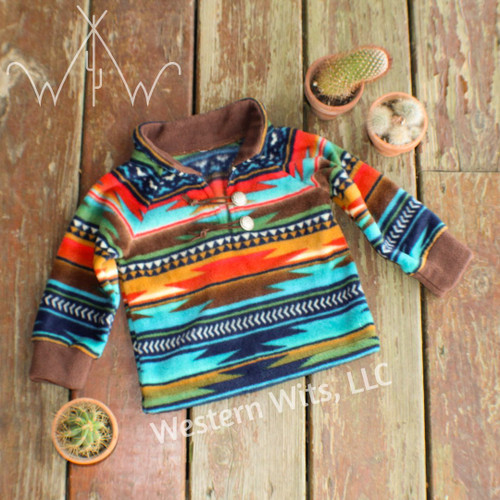 Serape Sunset Youth Aztec Fleece Pullover, Blue/Turquoise