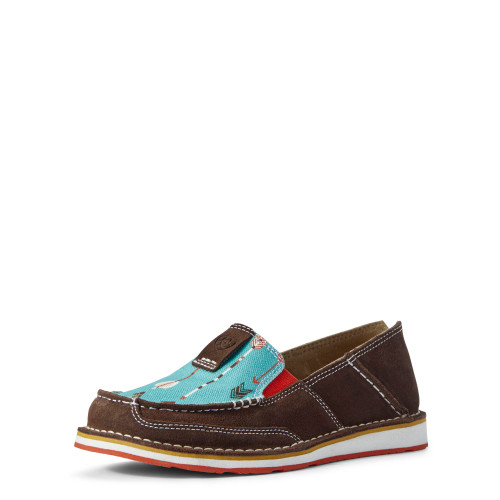 Ariat Womens Chocolate Suede Cruiser, Turquoise Arrows