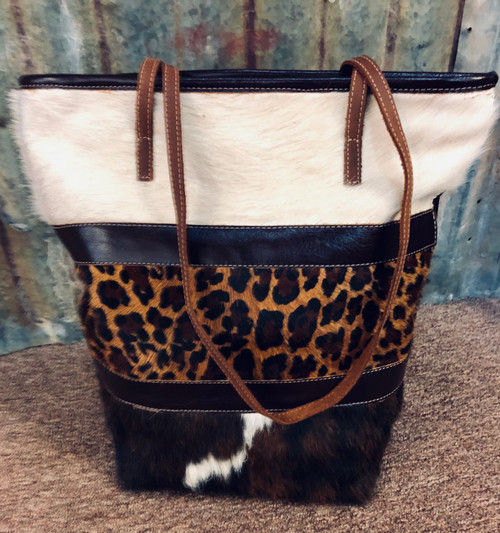 Leather Hair-On Hide Large Tote, Leopard