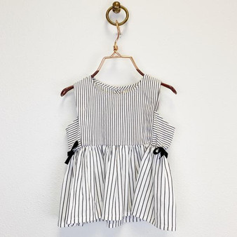Striped top with side bows