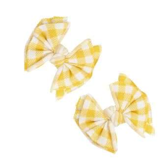 Mustard Gingham 2 PK Baby Fab Clips