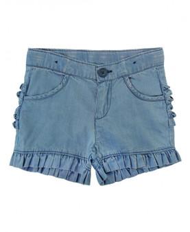 Lightwash Denim Ruffle Shorts