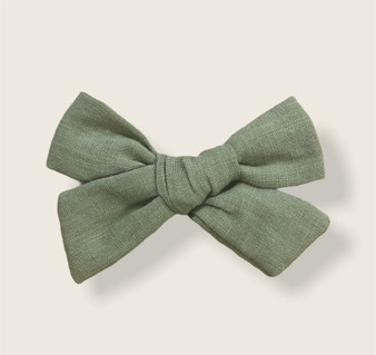 Olive Linen Bow