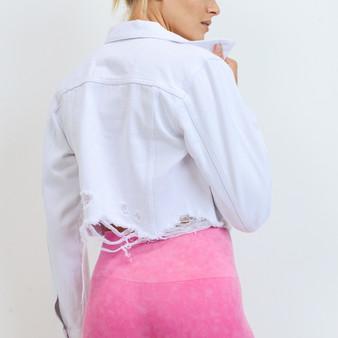 Cropped White Denim Jacket