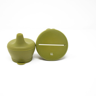 Silicone Snack & Sippy Lids Set - Army Green