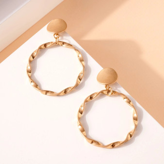 Twisted Gold Dangle Hoops