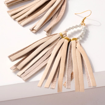 Natural Leather Beaded Earrings