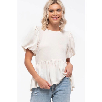 Bubble Sleeve White Top