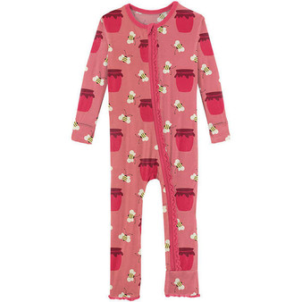 Kickee Strawberry Bees and Jam Coverall with Zip