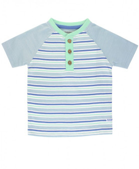 Blue and Neo Striped Henley
