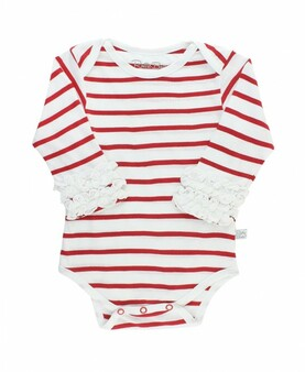 White and Red Stripe Bodysuit