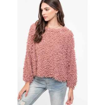 Dripping in cozy mauve sweater