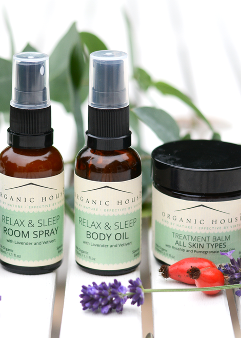 Relax & Sleep Room Spray and Body Oil and Treatment Balm