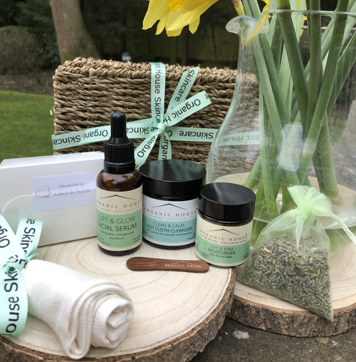 Facial Glow Seagrass Hamper with Artisan Chocolates