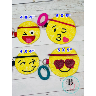 Emoji Zipper Pouch | Emoji Coin Purse | Small Coin Purse |Emoji Zippered Bag