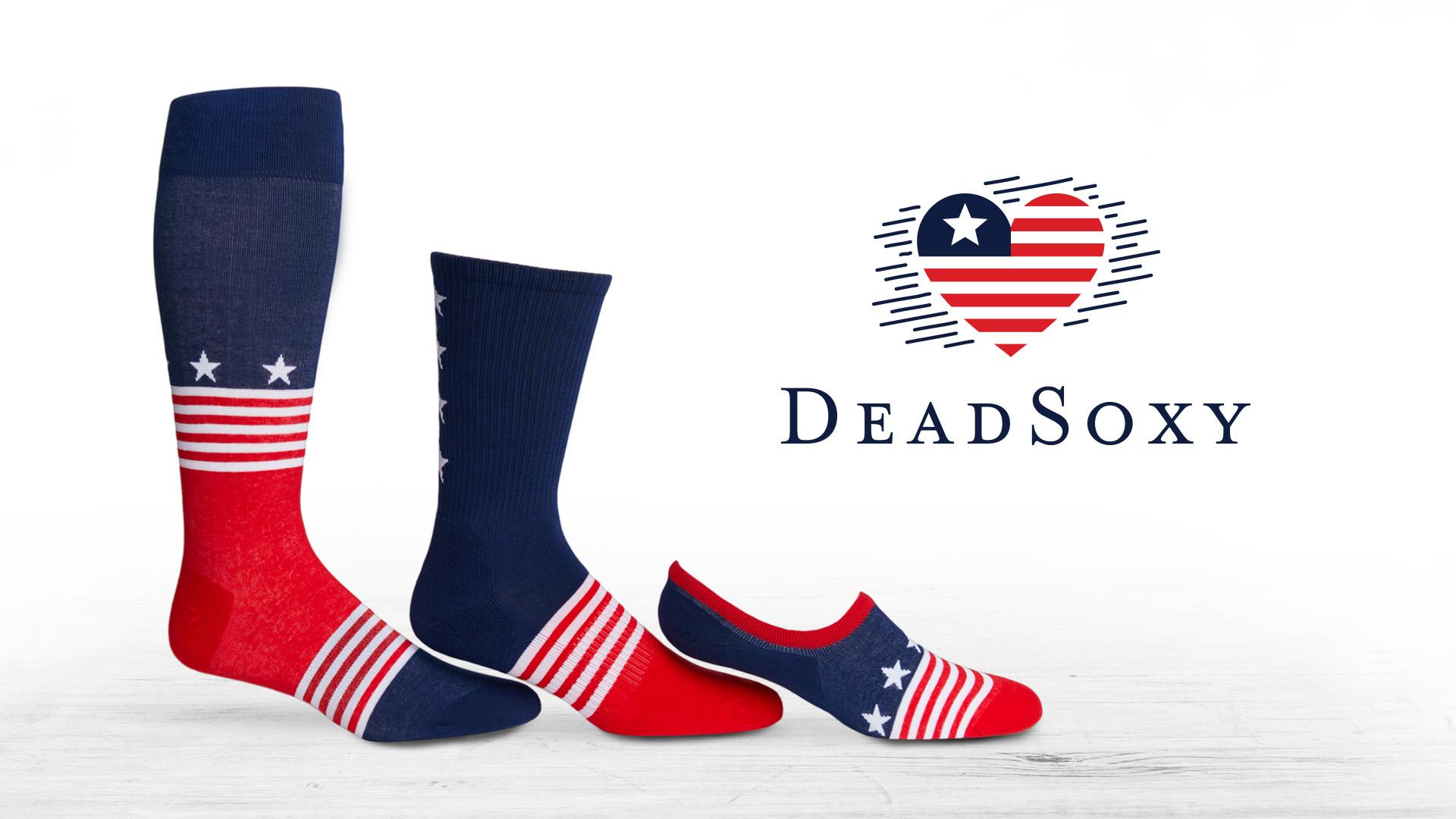Dress Socks, Casual Socks, and No Show Socks designed like the USA flag.