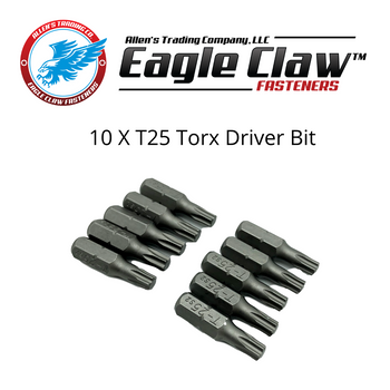 "10 Pack of T25 Torx Driver Bit, 1"" long, 1/4"" hex drive."