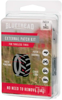 GlueTread External Patch Kit - for Tubeless Tires - No Need to Remove Tire - Kit Includes Enough Material to Patch 4 Tires - ATV Sidewall Repair Kit