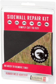 "GlueTread Sidewall Repair Kit - Patch Sidewall of Your Tire - Kit Includes (1) 4""x4.5""x3/16 Patch, (4) Pieces of Sandpaper, Adhesive & Instructions"