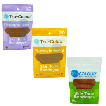 Tru-Colour Skin Tone Adhesive Fabric Diversity Bandages 3 Pack (60 count total) Matches Dark Brown, Brown and Olive Skin Tones