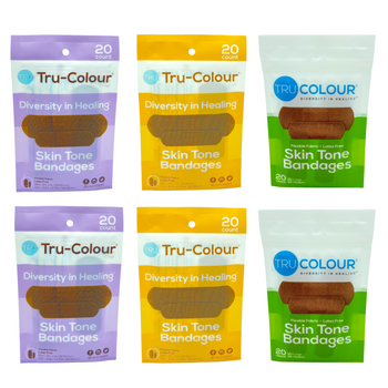 Tru-Colour Skin Tone Adhesive Fabric Diversity Bandages 6 Pack (120 count total) Matches Dark Brown, Brown and Olive Skin Tones