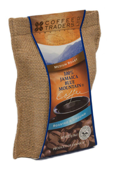 100% Jamaican Blue Mountain Coffee, Certified, Medium Roasted and Ground, 8 oz
