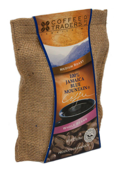 100% Jamaican Blue Mountain Coffee, Certified, Medium Roasted, Beans - 8 oz